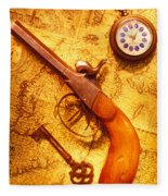 Old Gun On Old Map Fleece Blanket