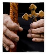 Old Hands And Crucifix  Fleece Blanket