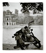 Old Honda In Hanoi Fleece Blanket