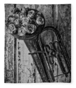Old Horn And Roses On Door Black And White Fleece Blanket