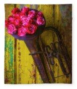 Old Horn And Roses On Door Fleece Blanket