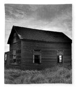 Old House In A Barren Field Fleece Blanket