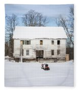 Old House In The Snow Springfield New Hampshire Fleece Blanket