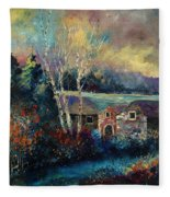 Old Houses In Hour Fleece Blanket