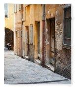 Old Houses On Narrow Street In Villefranche-sur-mer Fleece Blanket