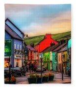 Old Irish Town The Dingle Peninsula At Sunset Fleece Blanket