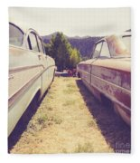 Old Junkyard Cars Chevy And Ford Utah Fleece Blanket