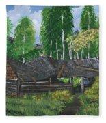 Old Log Cabin And   Memories Fleece Blanket