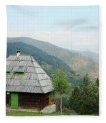 Old Log Cabin On Mountain Landscape Fleece Blanket