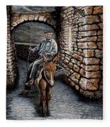 Old Man On A Donkey Fleece Blanket