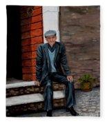 Old Man Waiting Fleece Blanket