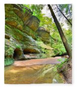 Old Man's Gorge Trail And Caves Hocking Hills Ohio Fleece Blanket