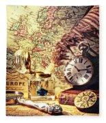 Old Maps And Ink Well Fleece Blanket