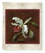 Old Masters Reimagined - Cattleya Orchid Fleece Blanket
