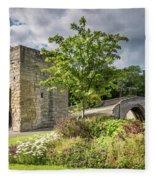 Old Medieval Bridge At Warkworth Fleece Blanket