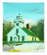 Old Mission Point Lighthouse Fleece Blanket