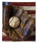 Old Mitt And Baseball Fleece Blanket