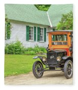 Old Model T Ford In Front Of House Fleece Blanket