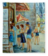 Old Montreal Street Scene Fleece Blanket