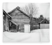 Old New England Barns In Winter Fleece Blanket