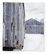 Old New England Barns Winter Fleece Blanket