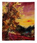 Old Oak At Sunset Fleece Blanket