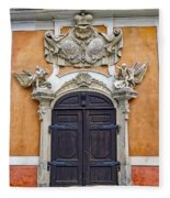 Old Ornate Door At The Cesky Krumlov Castle At Cesky Krumlov In The Czech Republic Fleece Blanket