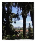 Old Palm Trees And Downtown Los Angeles Fleece Blanket