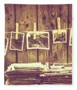 Old Photo Archive Fleece Blanket