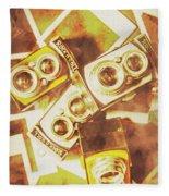 Old Photo Cameras Fleece Blanket