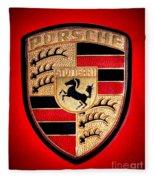 Old Porsche Badge Fleece Blanket