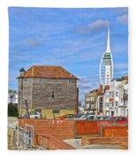 Old Portsmouth Flood Gates Fleece Blanket