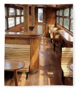 Old Railway Wagon Interior Vintage Fleece Blanket