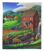 Old Red Appalachian Grist Mill Rural Landscape - Square Format  Fleece Blanket