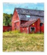 Old Red Barn Abandoned Farm Vermont Fleece Blanket
