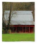 Old Red Barn In Jefferson County Fleece Blanket
