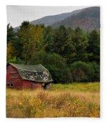Old Red Barn In The Adirondacks Fleece Blanket