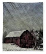 Old Red Barn In Winter Fleece Blanket