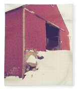 Old Red Barn In Winter Fleece Blanket