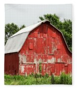 Old Red Barn Johnson County Ia Fleece Blanket