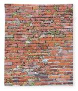 Old Red Brick Wall Fleece Blanket