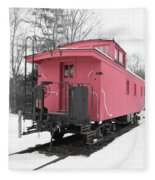 Old Red Caboose Square Fleece Blanket