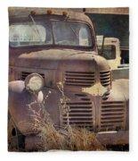 Old Red Dodge Truck Fleece Blanket