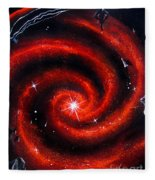 Old Red Spiral Galaxy Fleece Blanket