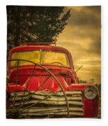 Old Red Truck Fleece Blanket