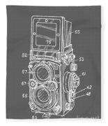 Old Rollie Vintage Camera White T-shirt Fleece Blanket