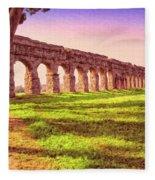 Old Roman Aqueduct Fleece Blanket
