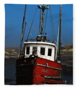 Old Rustic Red Fishing Boat Fleece Blanket