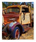Old Rusting Flatbed Truck Fleece Blanket
