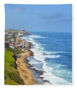 Old San Juan Coastline 3 Fleece Blanket